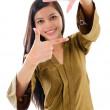 jihovýchodní Asie muslimská žena dělat rám s prsty — Stock fotografie