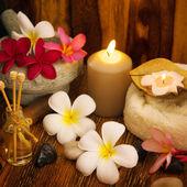 Outdoor spa massage setting — Stock Photo