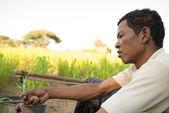 Portrait Traditional Asian male farmer — Stock Photo