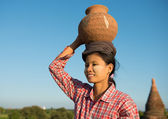 Portrait of Asian traditional female farmer — Stock Photo