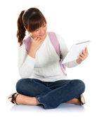Asian female student using tablet pc — Stock Photo