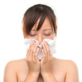 Flu or cold - sneezing woman sick blowing nose. — Stock Photo
