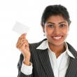 Indian businesswoman shows a blank name card — Stock Photo