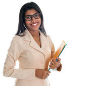 Indian businesswoman holding office file document. — Stock Photo