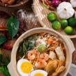 Prawn noodles, prawn mee. — Stock Photo
