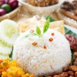 Nasi lemak with fresh hot steam — Stock Photo