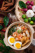 Prawn noodles, prawn mee. — Stock Photo