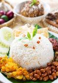 Nasi lemak with fresh hot steam — Stock Photo