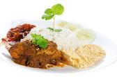 Nasi lemak traditional malay food — Stock Photo