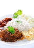 Nasi lemak malay dish — Stock Photo