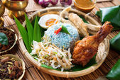 Nasi kerabu or nasi ulam — Stock Photo