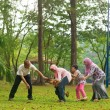 Muslim family having fun at outdoor — 图库照片