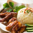 Singapore style Hainan chicken rice — Stock Photo