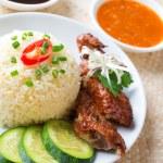 Singapore chicken rice. — Stock Photo