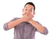 Hombre asiático con expresión de sorpresa — Foto de Stock