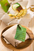 Nasi lemak traditional Malaysian breakfast — Stock Photo