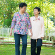 Asian senior women walking at outdoor park. — Stock Photo