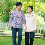 Asian senior women walking at outdoor park. — Stock Photo