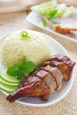 Roasted duck and roasted pork crispy siu yuk — Stock Photo