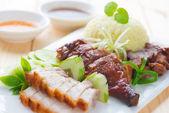 Roasted duck, roasted pork crispy siu yuk and Charsiu — Stock Photo