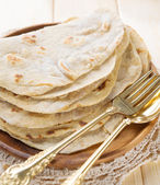 India vegetarian food plain chapatti roti — Stock Photo