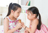 Eating ice cream cone — Stock Photo