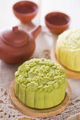 Snowy skin green tea paste mooncake — Stok fotoğraf