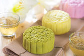Colorful snow skin mooncakes — Stok fotoğraf