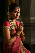 Indian female praying — Stock Photo