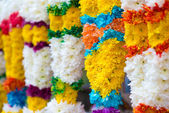 Indian colorful flower garlands — Stock Photo