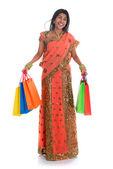 Indian woman in sari dress shopping — Stock Photo