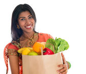 Indian woman in sari dress groceries shopping — Stock Photo