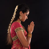 Indian woman prayer — Stock Photo