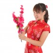 Chinese cheongsam girl decorate — Stock Photo