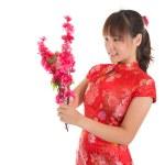 Chinese cheongsam girl decorate — Stock Photo