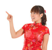 Chinese cheongsam girl finger pointing — Stok fotoğraf