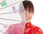 Chinese cheongsam girl with umbrella — Stok fotoğraf