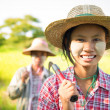 Myanmar Asian traditional farmer  — Stock Photo