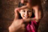 Myanmar girl playing fun. — Stock Photo