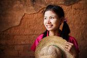 Traditional Myanmar girl looking away. — Stock Photo