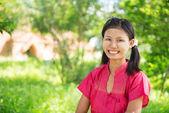 Myanmar girl standing outdoor. — Stock Photo