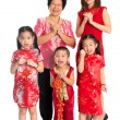 Asian Chinese family greeting on Chinese New Year — Stock Photo #30986153