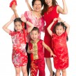 Asian Chinese family wishing you a happy Chinese New Year — Stock Photo #30986159
