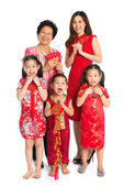 Asian Chinese family celebrate Chinese New Year — Stock Photo