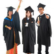 Full body group of multi races university student in graduation  — Stock Photo