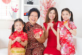 Multi generations Asian family celebrate Chinese new year — Stock Photo