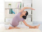 Woman meditation yoga at home — Stock Photo