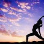 Outdoor woman yoga silhouette — Stock Photo