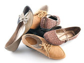 Pile of various female flat shoes — Zdjęcie stockowe