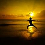 Outdoor beach yoga silhouette — Stock Photo